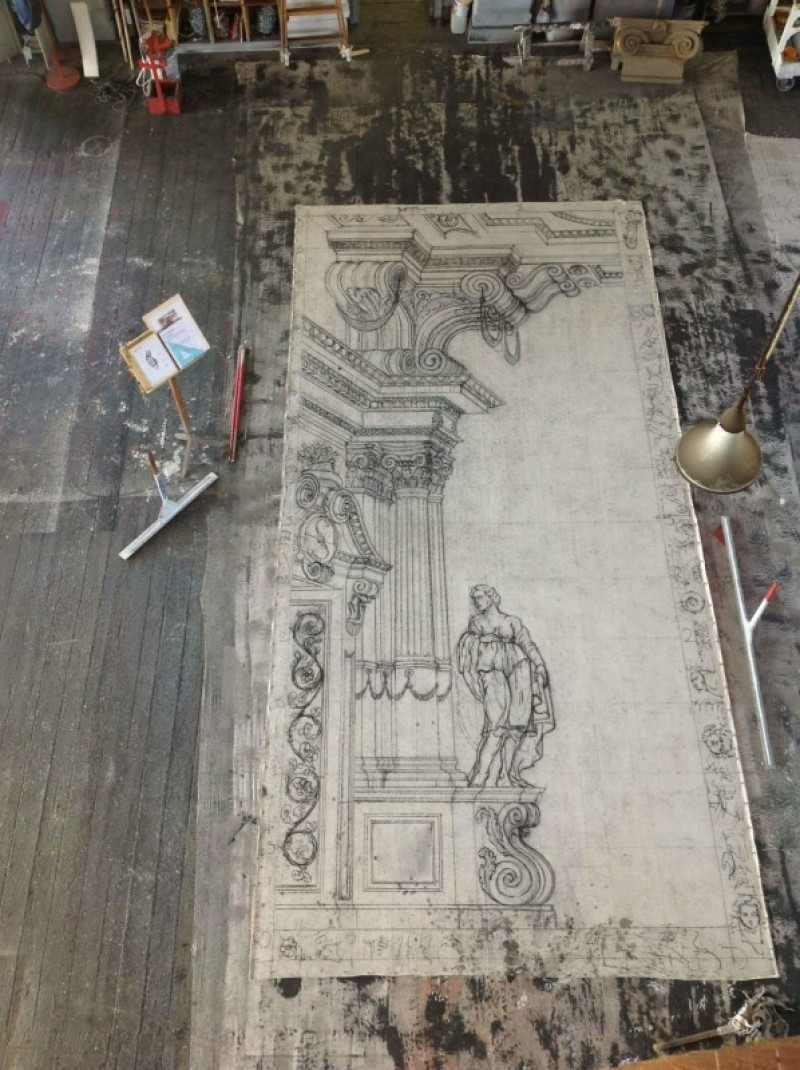Charcoal Drawing for a Backcloth